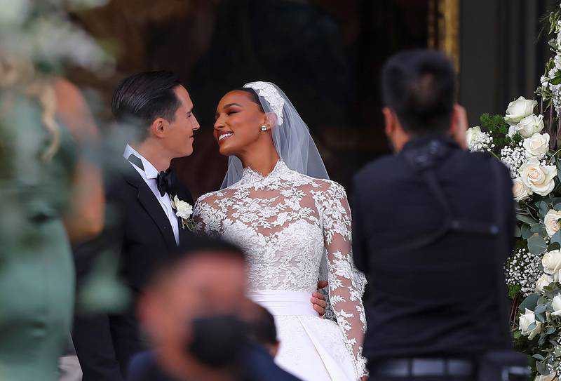 Model Jasmine Tookes marries Juan David Borrero in custom Zuhair Murad wedding gown